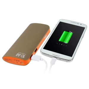 12000mAh Two Outputs Matte Power Bank for iPhone iPad Samsung LG Phones & Tablets - Gold