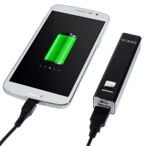 Doca 2600mAh Lipstick Power Bank Mobile Charger for iPhone Samsung HTC LG - Black