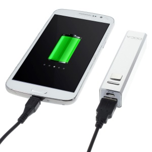 Doca 2600mAh Lipstick Power Bank Mobile Charger for iPhone Samsung HTC LG - Silver
