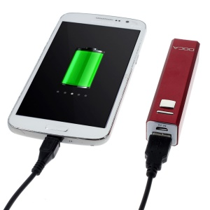 Doca 2600mAh Lipstick Power Bank Mobile Charger for iPhone Samsung HTC LG - Red