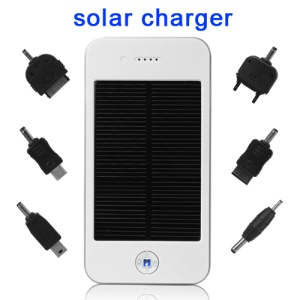 Solar Power Charger Battery for Mobile Phone / GPS / MP4 / Digital Camera 4000mAh - White