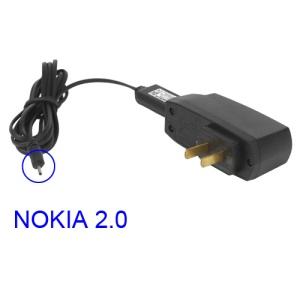 Nokia Wall Charger Adapter + 2.0mm Connector USB Cable - US Plug