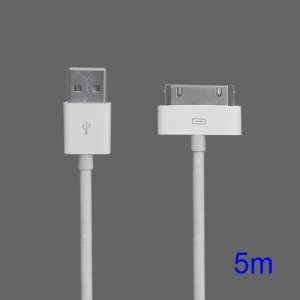USB Data Sync Charger Cable Cord for iPad iPhone iPod, Length: 5m