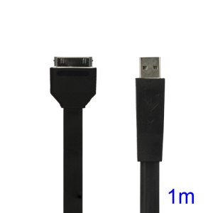 Flat USB Sync Data Charging Cable for iPhone iPad iPod - Black