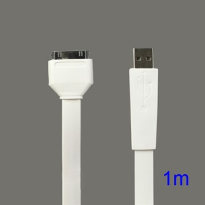 Flat USB Sync Data Charging Cable for iPhone iPad iPod - White