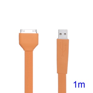 Flat USB Sync Data Charger Noodle Cable for iPhone iPad iPod - Orange