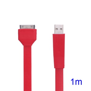 Flat USB Sync Data Charger Noodle Cable for iPhone iPad iPod - Red
