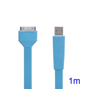 Flat USB Sync Data Charging Noodle Cable for iPhone iPad iPod - Baby Blue