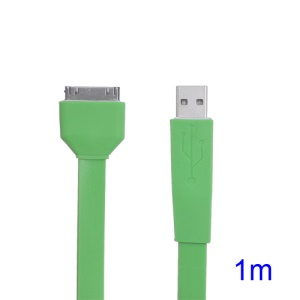 Flat USB Sync Data Noodle Cable for iPhone iPad iPod - Green