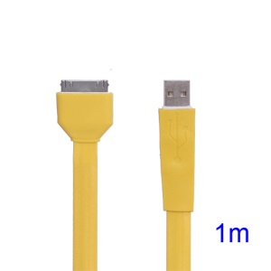 Flat USB Sync Data Charging Cable for iPhone iPad iPod - Yellow