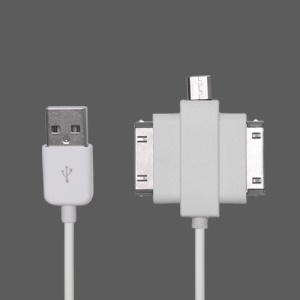 3 in 1 iPad iPhone Samsung Galaxy Tab Data Sync  Charging Cable (MicroUSB + Apple 30-pin + Samsung 30-pin)