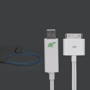 Flashing USB Sync Data Charging Cable for New iPad iPhone - White