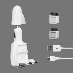 2 in 1 USB Travel Charger + Car Charger for New iPad / iPad 2 and Samsung Galaxy Tab - White