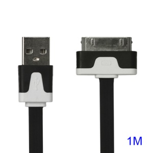 Colorful Dock Connector to USB Noodle Cable for iPhone 4S 4 3GS 3G New iPad iPod Touch 4 - Black