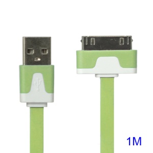 Colorful Dock Connector to USB Noodle Cable for iPhone 4S 4 3GS 3G New iPad iPod Touch 4 - Green