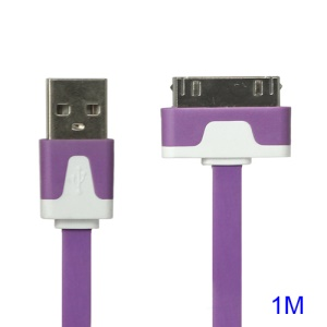 Colorful Dock Connector to USB Noodle Cable for iPhone 4S 4 3GS 3G New iPad iPod Touch 4 - Purple