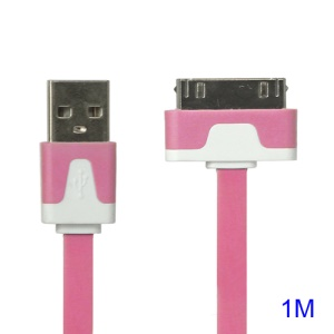 Colorful Dock Connector to USB Noodle Cable for iPhone 4S 4 3GS 3G New iPad iPod Touch 4 - Pink