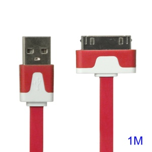 Colorful Dock Connector to USB Noodle Flat Cable for iPhone 4S 4 3GS 3G New iPad iPod Touch 4 - Red
