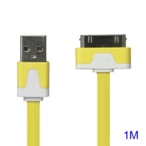 Colorful Dock Connector to USB Noodle Cable for iPhone 4S 4 3GS 3G New iPad iPod Touch 4 - Yellow