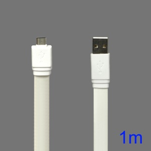 Flat MicroUSB Data Sync Charging Cable for Samsung HTC Sony Nokia etc - White
