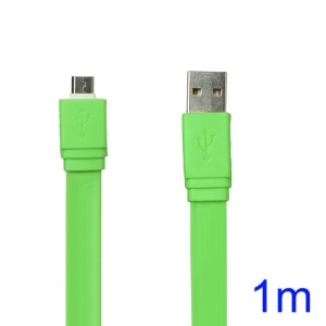 Flat MicroUSB Data Sync Charging Cable for Samsung HTC Sony Nokia etc - Green