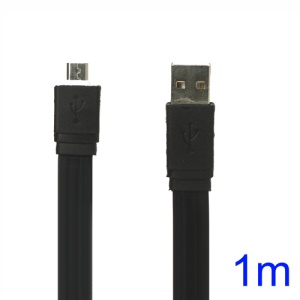 Flat MicroUSB Data Sync Charging Cable for Samsung HTC Sony Nokia etc - Black