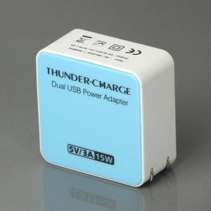 US Plug 15W 2-Port USB Power Adapter Charger for iPhone 4S iPad 2 The New iPad Samsung i9300 Galaxy S 3 HTC etc - Blue