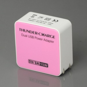 US Plug 15W 2-Port USB Power Adapter Charger for iPhone 4S iPad 2 The New iPad Samsung i9300 Galaxy S 3 HTC etc - Pink