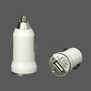 5V-1A Universal USB Car Socket Charger for iPhone 4 4S 3G 3GS iPod Samsung HTC etc - White