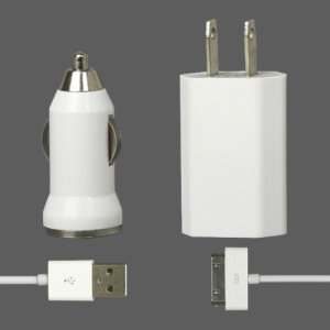 3 in 1 White Travel Car Charger and Apple USB Cable Crystal Box Packing - US Plug