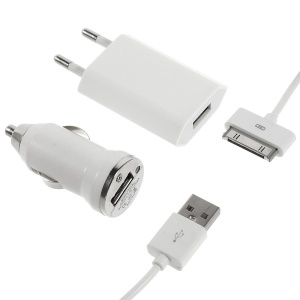 3 in 1 White Travel Car Charger and Apple USB Cable Crystal Box Packing - EU Plug