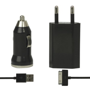 3 in 1 Black Travel Car Charger and Apple USB Cable Crystal Box Packing - EU Plug