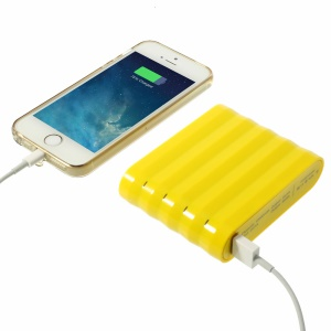 Cube Design Dual USB External Power Bank for iPhone iPad Samsung LG Etc Smartphones & Tablets 12000mAh - Yellow