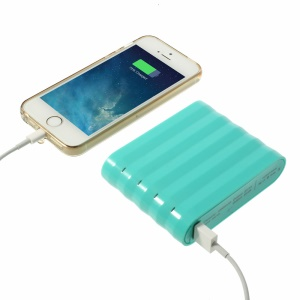 Cube Design Dual USB 12000mAh Backup Power Bank for iPhone iPad Samsung HTC Etc Smartphones & Tablets - Cyan
