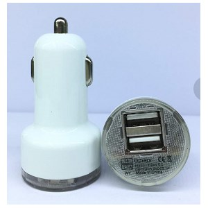 Dual USB Car Charger Adapter for iPad iPhone Samsung Galaxy Tab 2.1A - White