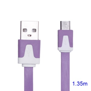 Noodle Micro USB Data Sync Charge Cable for Samsung HTC Sony Nokia LG Blackberry Motorola etc - White / Purple