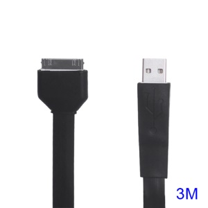Noodle-shaped 30pin Dock Connector to USB Flat Cable for iPad iPhone iPod 3M - Black