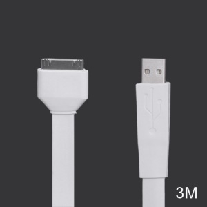 Noodle-shaped 30pin Dock Connector to USB Flat Cable for iPad iPhone iPod 3M - White