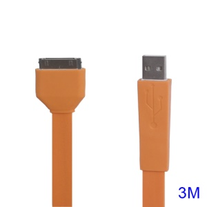 Noodle-shaped 30pin Dock Connector to USB Flat Cable for iPad iPhone iPod 3M - Orange