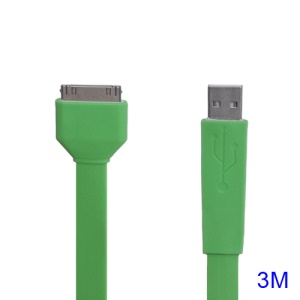 Noodle-shaped USB Data Sync Charging Cable for iPad iPhone iPod 3M - Green