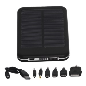 5000mAh Solar External Battery Pocket Power for iPad iPhone PSP Samsung Nokia BlackBerry HTC Phones etc - Black