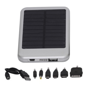 5000mAh Solar External Battery Pocket Power for iPad iPhone PSP Samsung Nokia BlackBerry HTC Phones etc - Silver