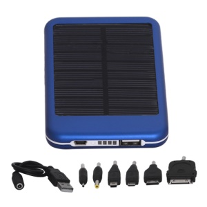 5000mAh Solar External Battery Pocket Power for iPad iPhone PSP Samsung Nokia BlackBerry HTC Phones etc - Blue
