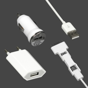 3 in 1 Multi-Function Charger Kit for iPod iPhone 4 4S Samsung HTC Sony Blackberry etc  EU Plug- White