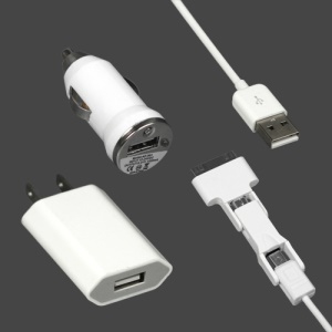 3 in 1 Multi-Functional US Plug Charger Kit for iPod iPhone 4 4S Samsung HTC Sony Blackberry etc - White