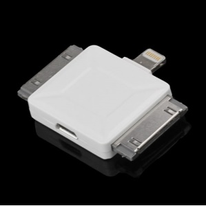 Micro USB Female to Lightning 8pin / Apple 30pin / Samsung Galaxy Tab 30pin Male Adapter - White
