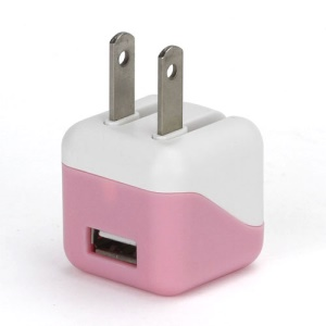 1A USB AC Home Wall Travel Charger Adapter for iPhone 5 iPad Mini iPod Touch 5 Nano 7 - White / Pink