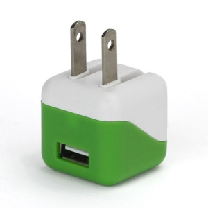 1A USB AC Home Wall Travel Charger Adapter for iPhone 5 iPad Mini iPod Touch 5 Nano 7 - White / Green