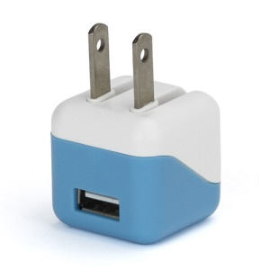 1A USB AC Home Wall Travel Charger Adapter for iPhone 5 iPad Mini iPod Touch 5 Nano 7 - White / Blue