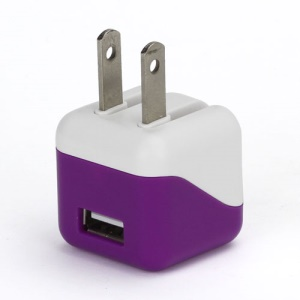 1A USB AC Home Wall Travel Charger Adapter for iPhone 5 iPad Mini iPod Touch 5 Nano 7 - White / Purple